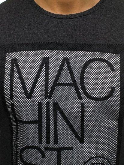 Bolf Herren Sweatshirt ohne Kapuze mit Motiv Schwarzgrau  M06