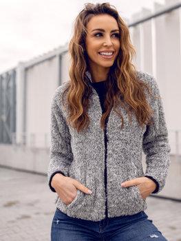Bolf Damen Fleece Sweatshirt ohne Kapuze Grau  HH009