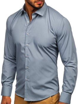 Bolf Herren Hemd Elegant Langarm Grau  0001