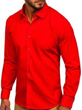 Bolf Herren Hemd Elegant Langarm Rot  0001