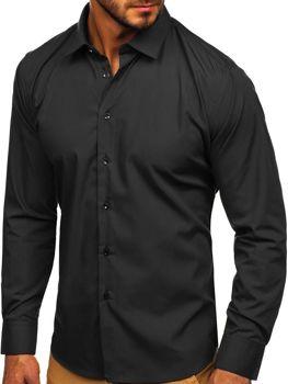 Bolf Herren Hemd Elegant Langarm Schwarz  0001