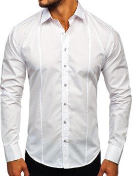 Bolf Herren Hemd Elegant Langarm Weiß 4705G