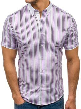 Bolf Herren Hemd Gestreift Kurzarm Violett  5201