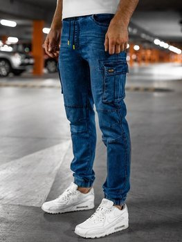 Bolf Herren Jeanshose Jogger Pants Cargohose Dunkelblau-Gelb  HY351