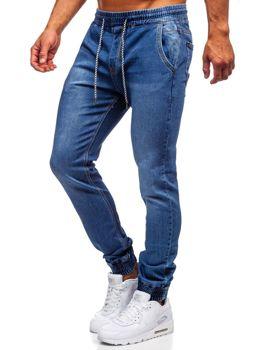 Bolf Herren Jeanshose Jogger Pants mit Gürtel Dunkelblau  KA1076