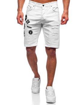 Bolf Herren Kurze Hose  Jeans Shorts Weiß  3029-1