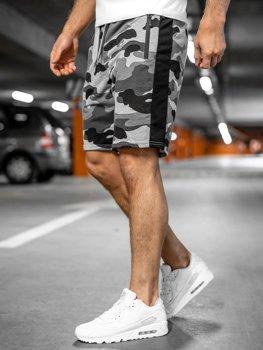 Bolf Herren Kurze Sporthose Shorts Camo Grau  K10037