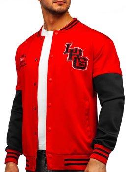 Bolf Herren Leichte Sweatshirt-Jacke ohne Kapuze College Baseball Jacke Rot  B10158