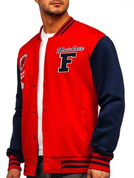 Bolf Herren Leichte Sweatshirt-Jacke ohne Kapuze College Baseball Jacke Rot  B10160