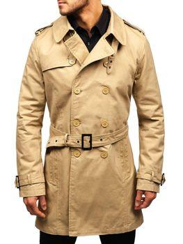 Bolf Herren Mantel Trenchcoat  Beige  5710