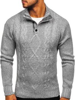 Bolf Herren Pullover mit Stehkragen Grau  P088
