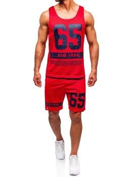 Bolf Herren Set T-Shirt + Kurze Hose  Rot 100777