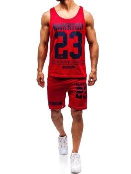 Bolf Herren Set T-Shirt + Kurze Hose  Rot 100778