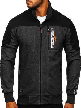 Bolf Herren Sweatshirt mit Motiv mit Reißverschluss Schwarz-Orange  TC1032