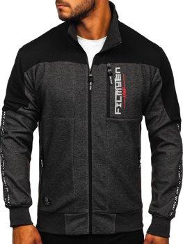 Bolf Herren Sweatshirt mit Motiv mit Reißverschluss Schwarz-Weiß  TC1032