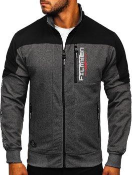 Bolf Herren Sweatshirt mit Motiv mit Reißverschluss Schwarzgrau-Weiß  TC1032