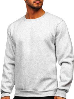 Bolf Herren Sweatshirt ohne Kapuze Hellgrau  2001