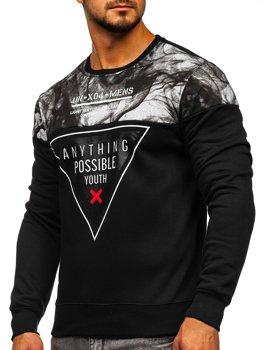 Bolf Herren Sweatshirt ohne Kapuze Schwarz  DD106