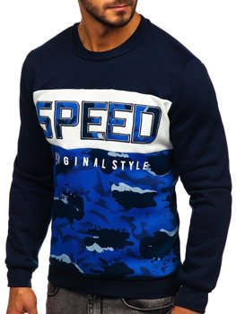 Bolf Herren Sweatshirt ohne Kapuze mit Motiv Blau  HY605