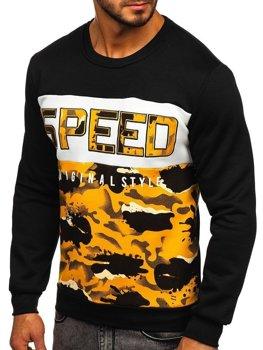 Bolf Herren Sweatshirt ohne Kapuze mit Motiv Gelb  HY605