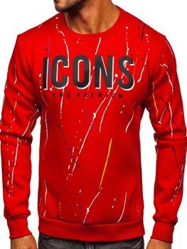 Bolf Herren Sweatshirt ohne Kapuze mit Motiv Rot  146058