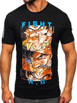 Bolf Herren T-Shirt mit Applikationen Schwarz  2611