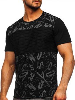 Bolf Herren T-Shirt mit Moiv Schwarz  S18008