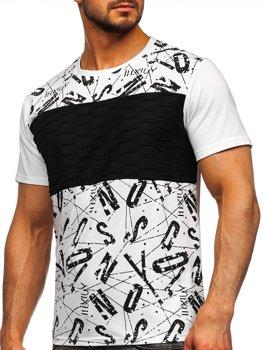 Bolf Herren T-Shirt mit Moiv Weiß  S18008