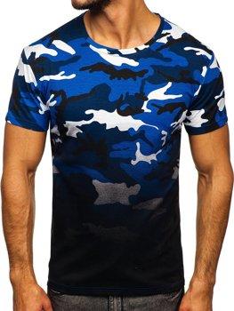 Bolf Herren T-Shirt mit Motiv Camo Blau  S808