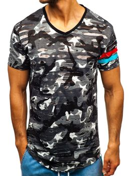 Bolf Herren T-Shirt mit Motiv Camo-Grau  309