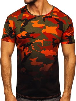 Bolf Herren T-Shirt mit Motiv Camo Grün-Orange  S808
