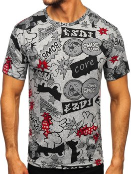 Bolf Herren T-Shirt mit Motiv Grau  14917