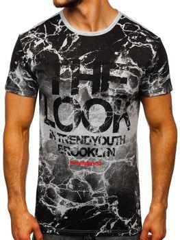 Bolf Herren T-Shirt mit Motiv Grau JS627