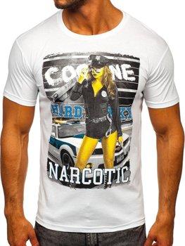 Bolf Herren T-Shirt mit Motiv Weiß  004