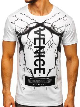 Bolf Herren T-Shirt mit Motiv Weiß 10872