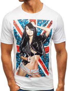 Bolf Herren T-Shirt mit Motiv Weiß  6297