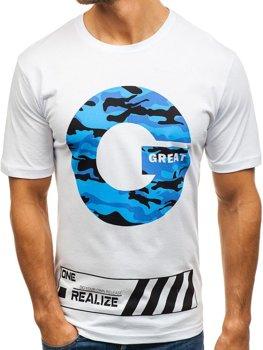 Bolf Herren T-Shirt mit Motiv Weiß  6299