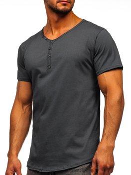 Bolf Herren T-Shirt mit V-Ausschnitt Dunkelgrau 4049