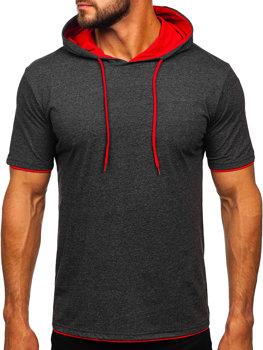 Bolf Herren T-Shirt ohne Motiv mit Kapuze Anthrazit-Rot  08