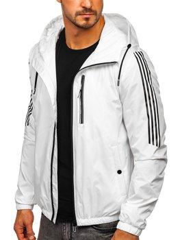 Bolf Herren Übergangsjacke Sport Jacke mit Kapuze Weiß  6172
