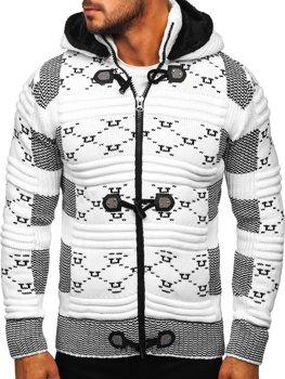 Bolf Herren Warmer Pullover mit Kapuze Aufknöpfbar Jacke Weiß  2059