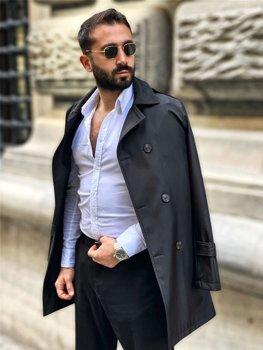 Bolf Herren mantel Zweireihig Trenchcoat mit Stehkragen und Gürtel Schwarz  0005