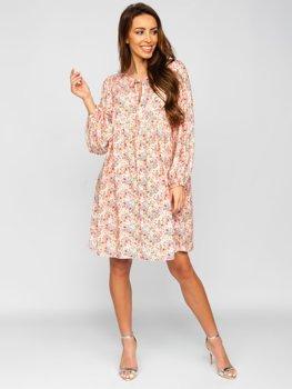 Damen Kleid  mit floralem Muster Beige  3019