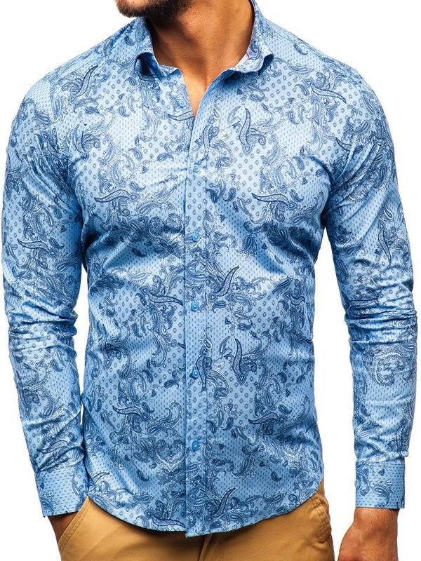 Bolf Herren Hemd Gemustert Langarm Blau  200G63
