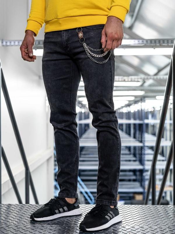 Bolf Herren Jeans Hose straight leg Schwarz  KA1232-1