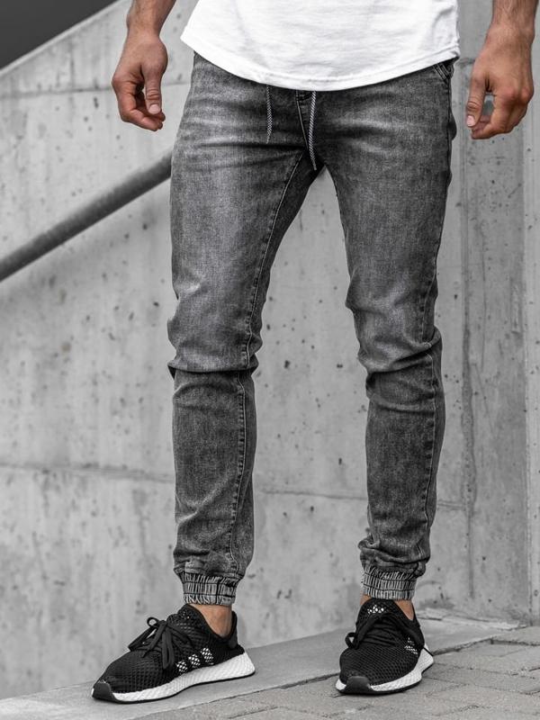 Bolf Herren Jeanshose Jogger Grau  KA1208