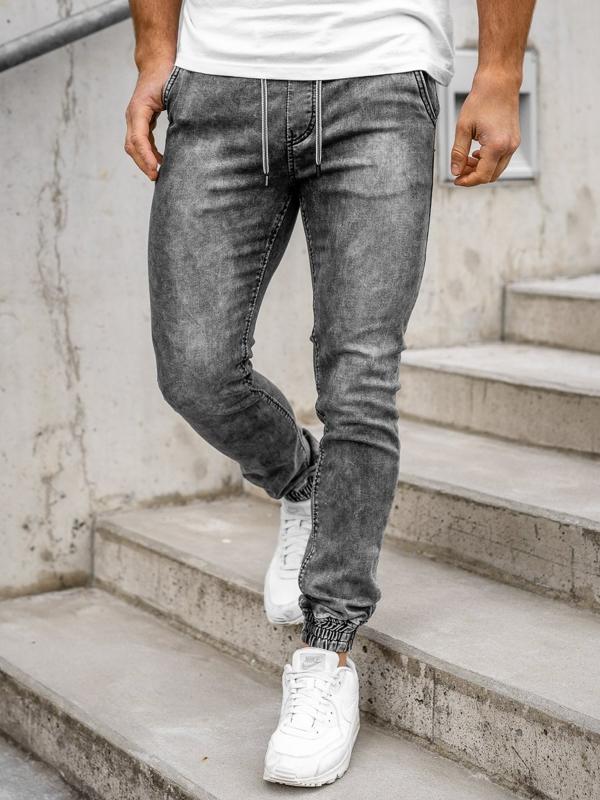 Bolf Herren Jeanshose Jogger Pants Schwarz  KA1322-1