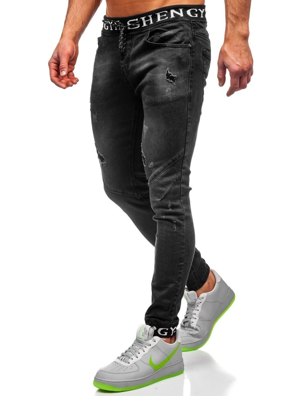 Bolf Herren Jeanshose Jogger Pants Schwarz  KA1857