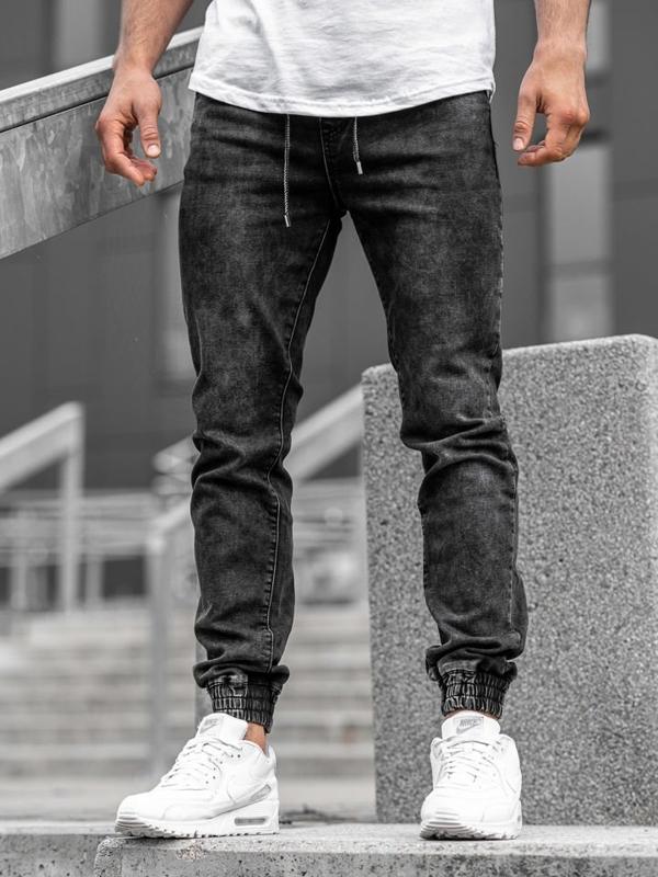 Bolf Herren Jeanshose Jogger Schwarz   KA1082