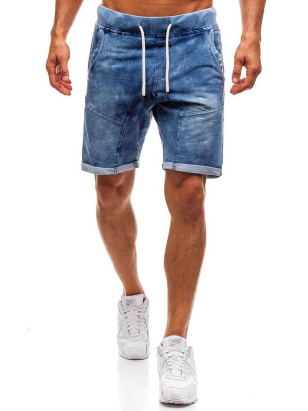 Bolf Herren Kurze Jeanshose Dunkelblau  EX01